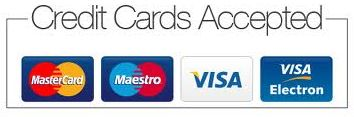 Most popular credit or debit cards accepted