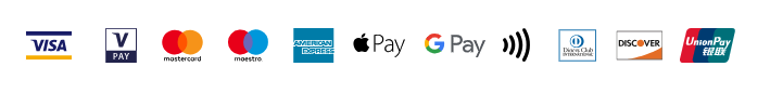 We can accept any credit or debit card that displays a Visa, V PAY, Mastercard, Maestro, American Express, Discover, Diners Club, or Union Pay logo as well as NFC payments via Google and Apple Pay.